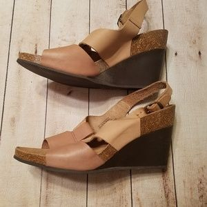 Pedro Iniesta Shoes - Women's Cork wedge heels with ankle strap size 11